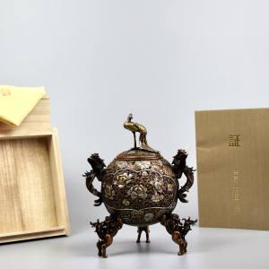 日本 高冈铜器 金工大师 村田宏 蜡型铸铜 玉孔雀 香炉